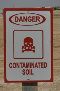 An American 'Contaminated Soil' sign in Afghanistan. [Crown Copyright]