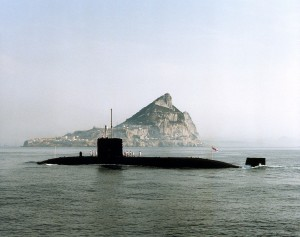 The Finance team also support overseas bases, such as Gibraltar - pictured here behind HMS Superb. [Crown Copyright]