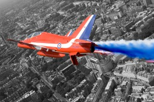 The Red Arrows take part in a display over London in 2006. [Photo by Cpl Andy Benson, Crown Copyright]