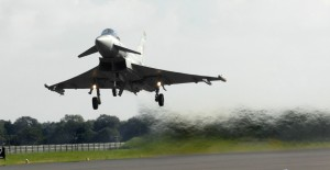 Pilots have to be confident in the quality of the runways they use. Here, an RAF Typhoon takes off at Coningsby. [Photo by SAC Scott Lewis; Crown Copyright]