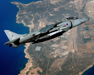 A Harrier Jet flies over RAF Akrotiri (LA (PHOT) Luis Holden; Crown Copyright)