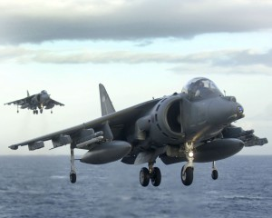 2 Harrier jets prepare to land on HMS Illustrious, 2008 (Photo by LA (Phot) Des Wade, Crown Copyright)