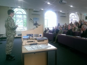 A presentation at one of the recent User Engagement seminars. (Lt Col Jonathan Hipkins, Crown Copyright)