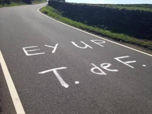 A typical Yorkshire greeting for the riders! (Crown Copyright)