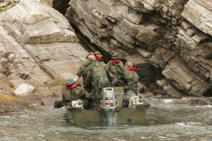 Personnel approach the cliffs (Crown Copyright)