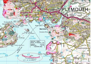 Plymouth map with Plymouth Breakwater circled (Crown Copyright)