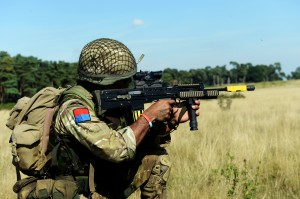 A Gunner from 23 Engineer Regiment (Air Assault) practices infantry skills during Exercise Cypher Bayonet in Stanford Training Area. (Crown Copyright)