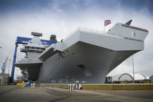 HMS Queen Elizabeth, one of the UK's two new aircraft carriers. [CPOA(Phot) Thomas Tam McDonald; Crown Copyright MOD 2014]