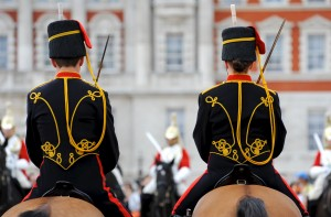 The British Army still uses horses, but only for ceremonial reasons. Here, soldiers of the Kings Troop Royal Horse Artillery form up on Horse Guards parade ground as they take over Queen's Life Guard duties from HM The Life Guards in 2010. [Sgt Dan Harmer, Crown Copyright]