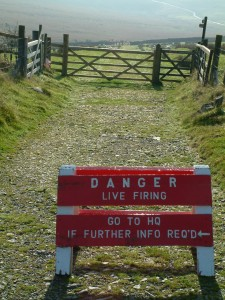 A sign advising of live firing.