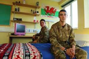 Guardsman Dale Williams (front) and Lance Corporal Nathan Williams both of 1 Welsh Guards enjoying the newly refubished living accommodation. [Crown Copyright]