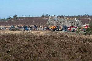 Skyfall Lodge under construction at Hankley Common for the James Bond film, 'Skyfall'.