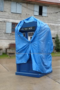 The TARDIS, nearly ready for filming of a Doctor Who Christmas special.