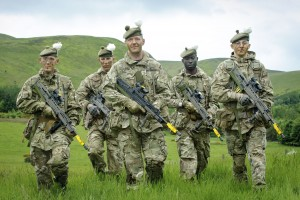 Soldiers from The Royal Highland Fusiliers 2nd Battalion of the Royal Regiment of Scotland train on land that is earmarked for a commemorative living memorial for Scotland's First World War Heroes. [Helen Pugh]