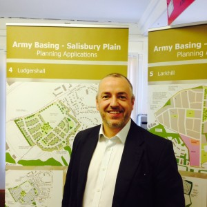 Stephen Harness, DIO Town Planner, at the public exhibition at Durrington Library (Crown Copyright/ MOD2015)
