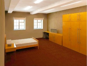 An artist's impression of a new room at the refurbished Keogh Barracks. [Crown Copyright]