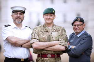 A Reservist from each of the three main reserve services. From left, a Royal Naval Reserve, Army Reserve and Royal Air Force Reserve. (Sgt Pete Mobbs, Crown Copyright / MOD2013)
