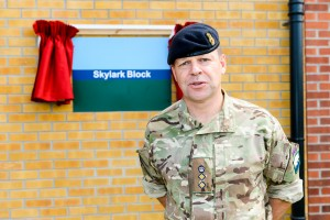 Col Richard Maybery QGM at the opening of new Skylark Block (Cpl Tim Jones, Crown Copyright/MOD 2015)