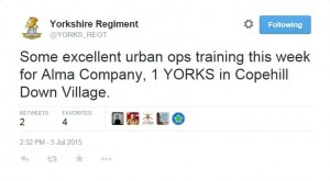 "Image of a tweet from The Yorkshire Regiment: ""Some excellent urban ops training this week for Alma Company, 1 YORKS in Copehill Down Village."""