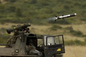 A Javelin anti-tank missile is fired from Imber Camp. [Andrew Linnett, Crown Copyright/MOD2015]