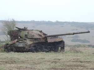 An old tank used as a target. (Crown Copyright)