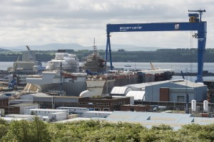 HMS Queen Elizabeth being assembled at MOD Caledonia. (MOD/Crown Copyright 2014)
