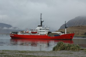 The South Georgia Government fisheries patrol vessel MV Pharos, my six day taxi ride back to the Falklands. [Simon Browning]
