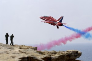 Red 7 during an Red Arrows training session at RAF Akrotiri [Crown Copyright-MOD2008]