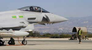 A Royal Air Force Typhoon aircraft from 11 Squadron, part of the Expeditionary