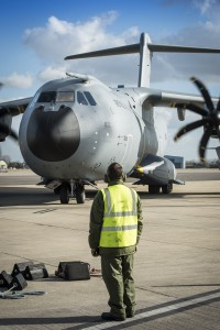The second of the RAF's enormous new A400M aircraft arrives at RAF Brize Norton and is watched by ground crew. [Crown Copyright/MOD2015}