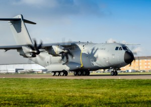 One of the Royal Air Force's new A400M aircraft arrives at RAF Brize Norton on 18th November 2014. [Crown Copyright/MOD2014]