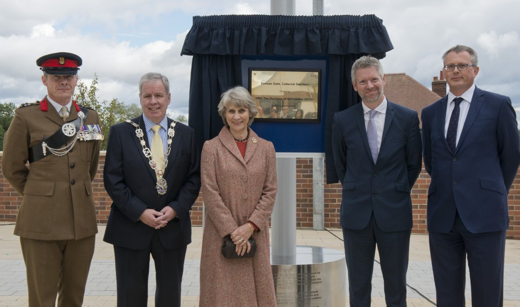 HRH the Duchess of Gloucester opens Catterick Garrison's new town centre with (l-r) Brigadier Gerald Strickland, Commander 4th Infantry Brigade; Richamondshire District Council chairman Councillor John Robinson ; Kier managing director Tom Gilman; and Kier executive director Nigel Turner