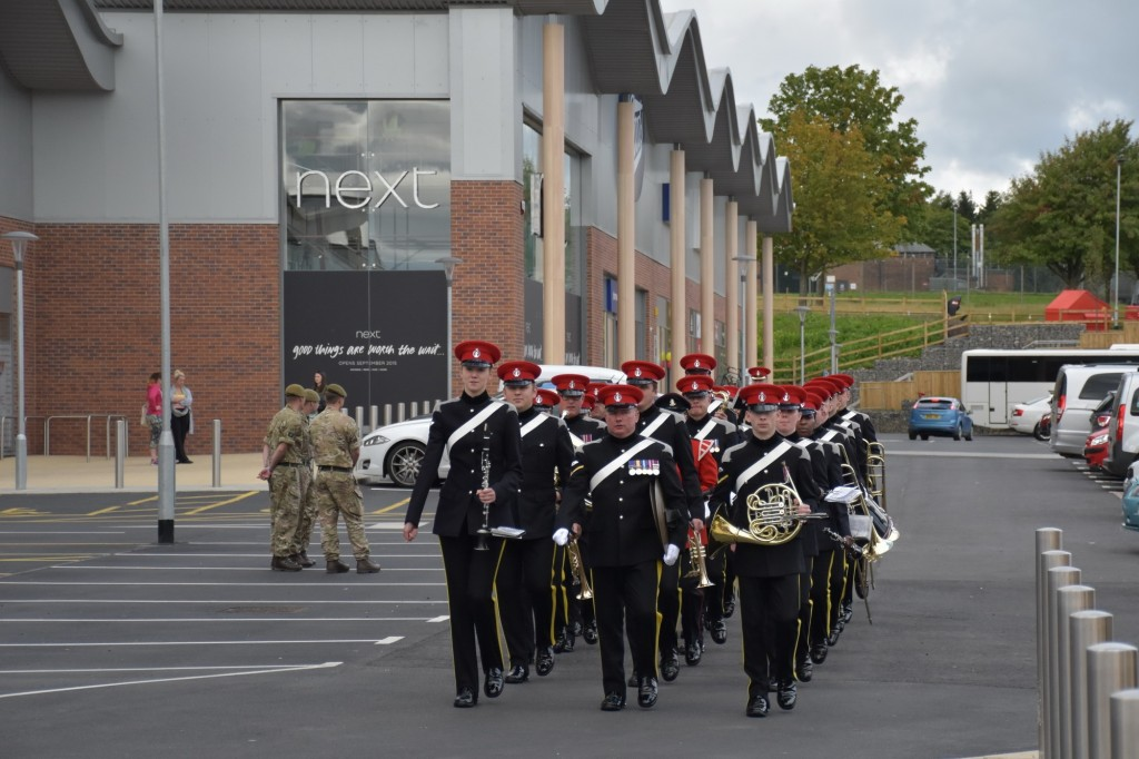 The band of the Royal Armoured Corps at the opening of Catterick Garrison's new town centre