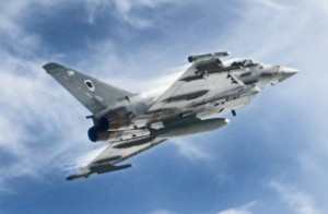 A Typhoon aircraft accelerates and climbs during a training sortie. [Crown Copyright]
