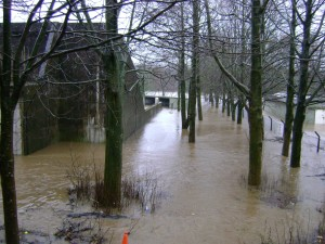 Flooding at Halton's 25m range. [Crown Copyright]