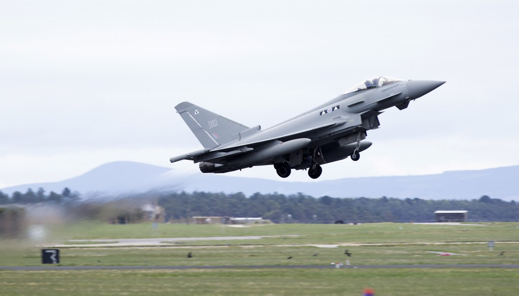 A II (Army Cooperation) Squadron Typhoon taking off from RAF Lossiemouth. [Crown Copyright/ MOD2016]