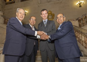 Pictured L to R are: Mr Juan-Miguel Villar-Mir (of Grupo Villar Mir), Mr PP Hinduja, Defence Minister, Mark Lancaster MP, Mr GP Hinduja (both of the Hinduja Group) on the main staircase of The Old War Office.