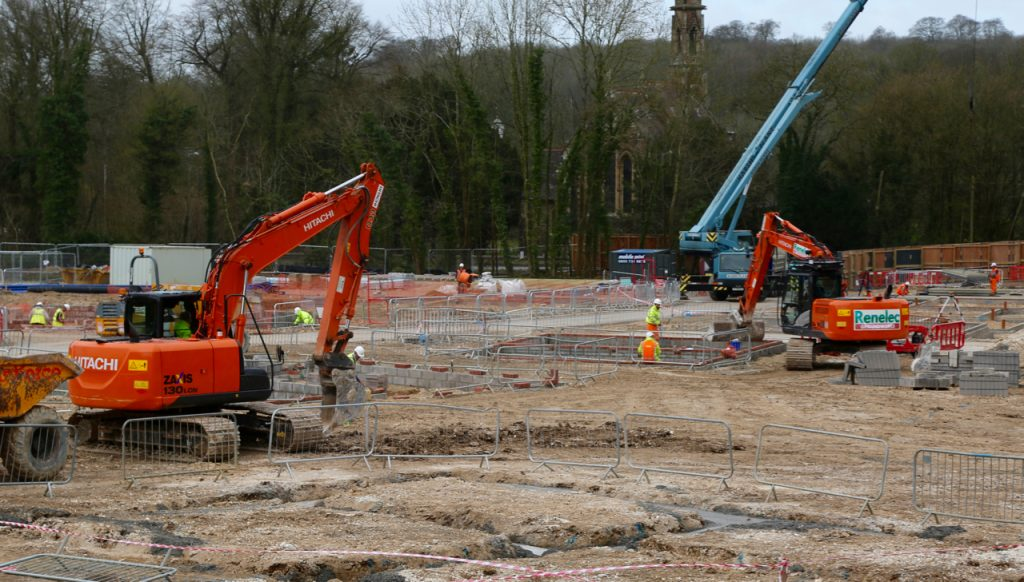 Construction of Service Family Accommodation underway at Tidworth. [Crown Copyright/MOD2016]