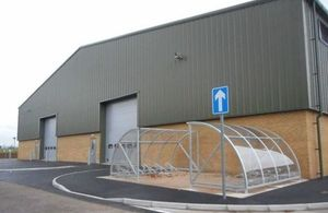 Exterior of the new Command Troop Covered Parking building. [Crown Copyright/MOD]