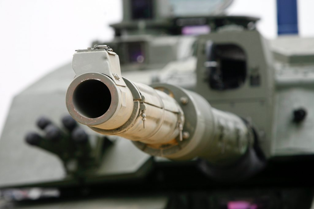 The 120mm smooth bore tank gun, which is the possible replacement for the gun on the Challenger 2 tank, being demonstrated at Five Tips Wood, Heath Range Lulworth, by the Armoured Trials and Development Unit. [Crown Copyright/MOD2006]
