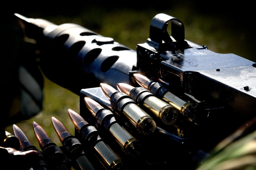 A Royal Marines .50 calibre machine gun at the Commando Training Centre Royal Marines (CTCRM) Lulworth Camp during a training session. [Crown Copyright/MOD2008]