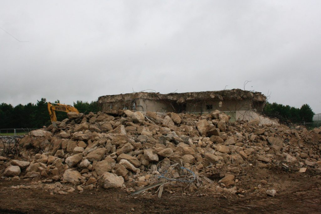 Demolition of the structures has been by both conventional means and the chemical demolition technique. [Crown Copyright/MOD2016]