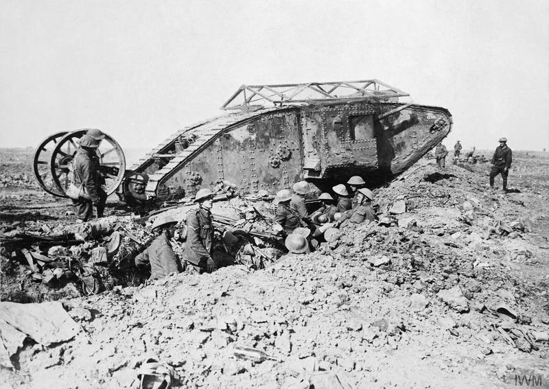 Mark I 'Male' Tank of 'C' Company that broke down on its way to attack Thiepval on 25 September 1916 during the Battle of the Somme. [© IWM (Q 2486), http://www.iwm.org.uk/collections/item/object/205194947]