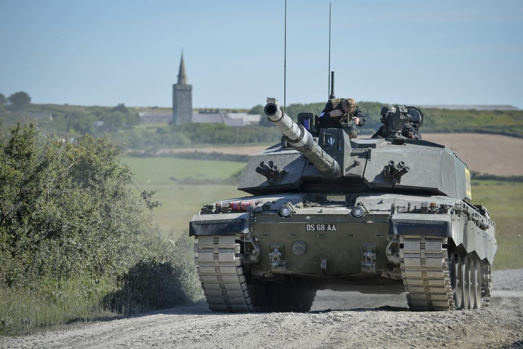 A Challenger 2 tank on Castlemartin Ranges in Pembrokeshire, Wales. [Crown Copyright/MOD2014]