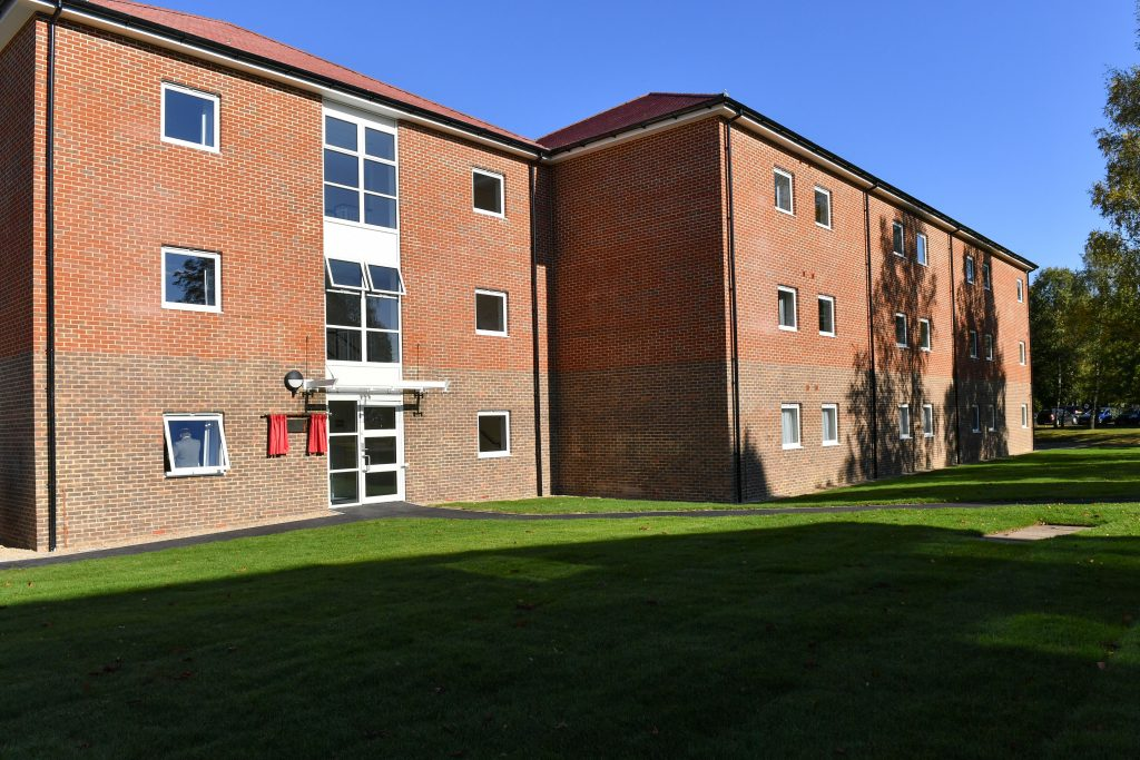 Outside view of the new Single Living Accommodation at Keogh Barracks. [Crown Copyright/MOD2016]