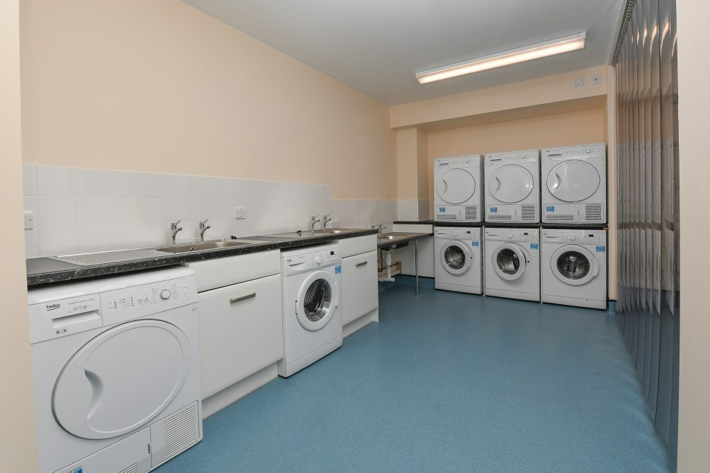 Utility room of the new Single Living Accommodation at Keogh Barracks. [Crown Copyright/MOD2016]