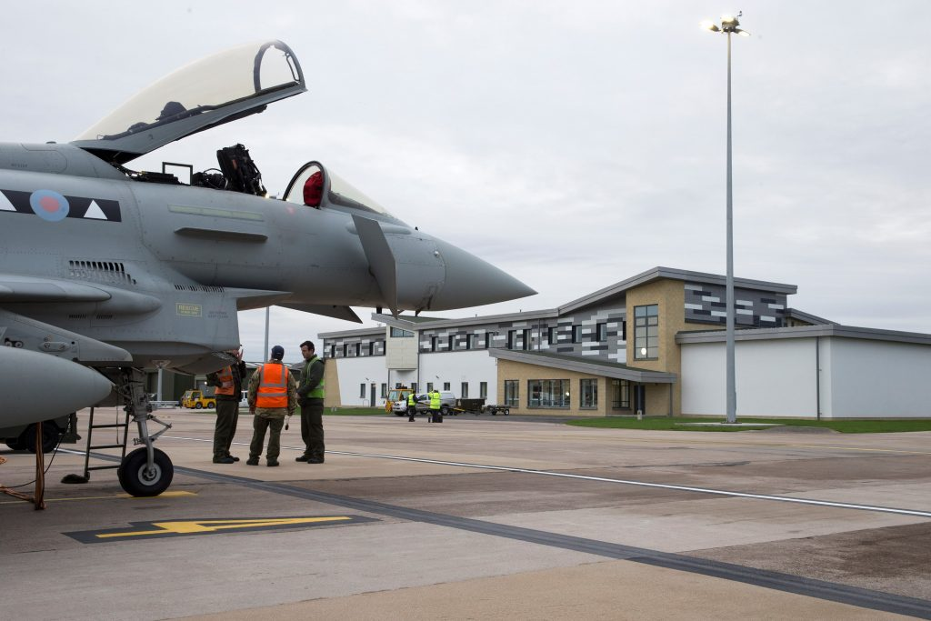 A Typhoon outside some of the new facilities at RAF Lossiemouth.