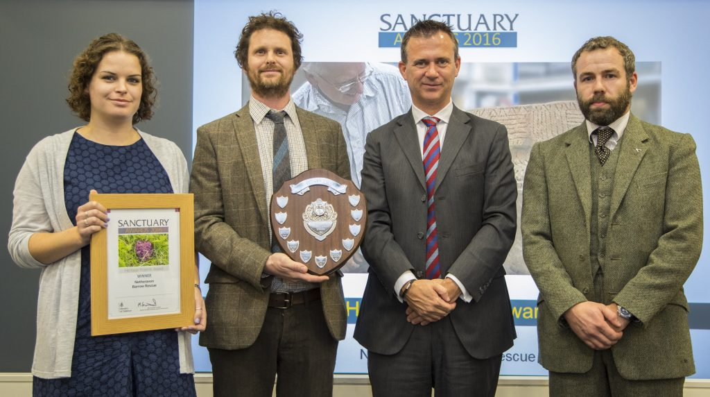 The Netheravon Barrow Rescue team collecting their Heritage Award. [Crown Copyright/MOD2016]