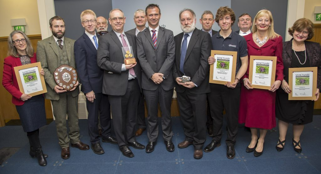 The Sanctuary Awards winners and runners up with DIO Chief Executive Graham Dalton and Defence Minister Mark Lancaster. [Crown Copyright/MOD2016]