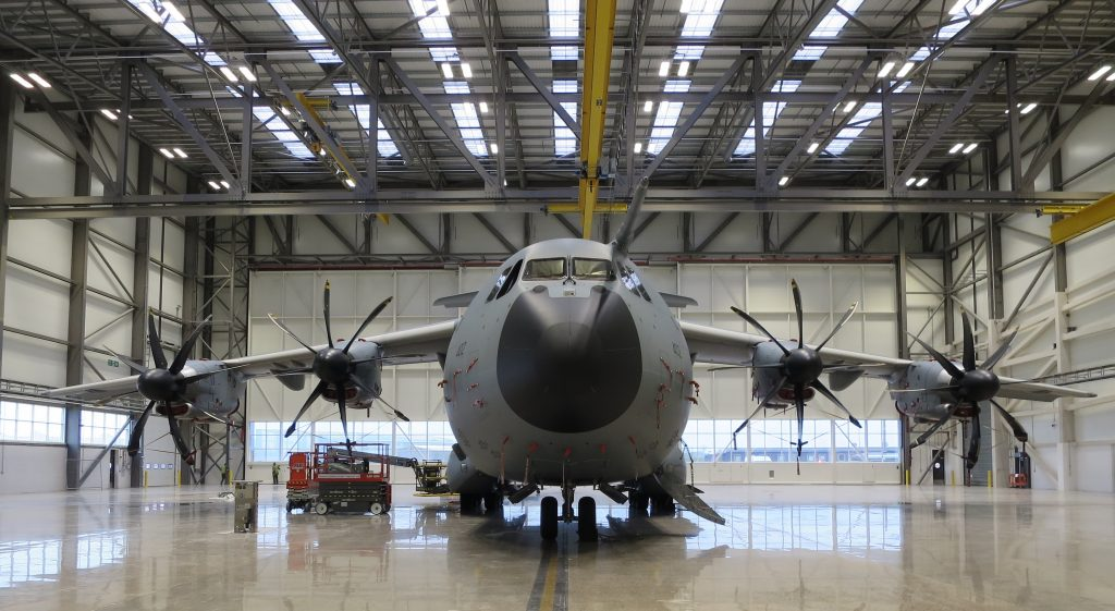 An A400m in the new hangar at Brize Norton [Crown Copyright/MOD 2017]
